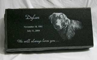 16 x 8 x 3 China black granite pet grave marker