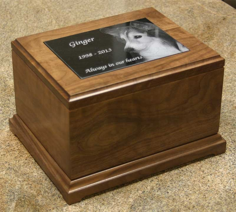 5 x 7 Large Walnut Pet Urn-special order- 6 weeks