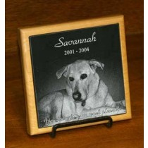 4 x 4 China Black Marble Memorial with Alder Trivet