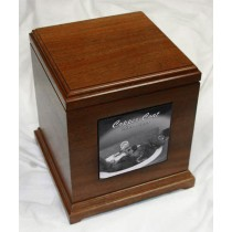 4 x 4 Upright Mahogany Pet Urn - special order - 6 weeks